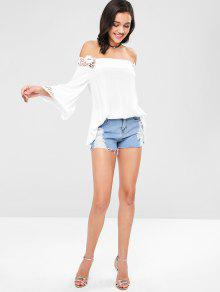 M De Hombro Lace Blusa Off Panel ZAFUL Blanco ngw0AqIzz