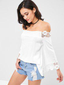 Off Lace Blanco De Panel ZAFUL M Blusa Hombro 4E8g8q