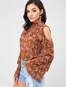 Floral Marr ZAFUL Cold 243;n Ruffles Claro Shoulder S Blouse dqSXqx