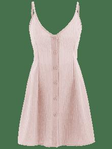 ZAFUL Cami Stripes S Dress Rosa Khaki Button Up rrq7B