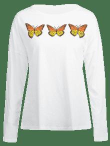 ZAFUL Manga Con Mariposas Camiseta S Blanco De Larga HPwd7qExB