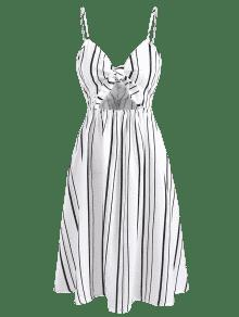 27% OFF  2019 Tie Knot Front Vertical Striped Sundress In WHITE L ... 3b0368caf