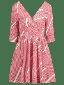 L Rayas De Acampanado Rojo Vestido Corte A Bajo 80qnwZv1
