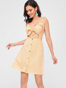فستان محبوك من القماش القطني - أصفر فاقع S