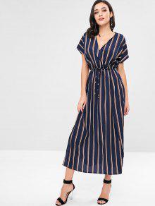 فستان ZAFUL Maxi Surplice الرفيع الشق المخطط - ازرق غامق M