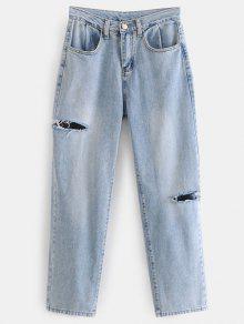 جينز بنمط ممزق - جينز ازرق L