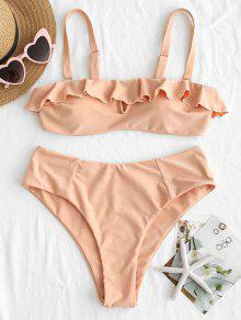 ZAFUL Ruffles Bandeau Bikini Set - برتقالي وردي S