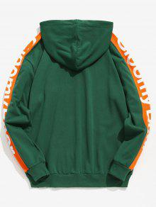 Mediana Verde Letter Side Taped L Mar Contraste Stripe Hoodie PYq05qUw