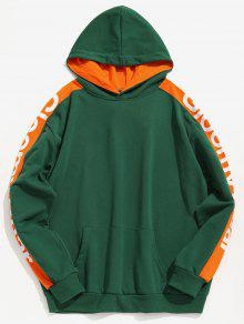 Mediana Mar L Hoodie Contraste Taped Letter Stripe Verde Side pz7q0fHf