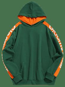 L Verde Mediana Taped Mar Letter Hoodie Contraste Stripe Side BZgwqg8