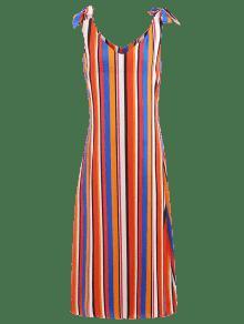 Hombros De Rayas Con Largo Descubiertos ZAFUL Con A L Multicolor Vestido Lazo OwREB8qRx