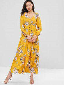 ZAFUL الأزهار زر حتى فستان ماكسي - بني ذهبي S