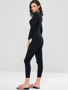 26f9c460c العربية ZAFUL | أسود مجموعة ملابس داخلية حرارية طويلة وسراويل 2019 ...
