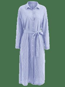 Celeste Vestido Con Con S De Camisa ZAFUL Larga Rayas Hendidura pxf8qFwdF