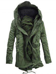 معطف هودي مبطن بغطاء مزدوج - الجيش الأخضر S