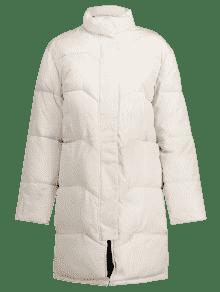 De Blanco Alto Invierno Abrigo Cuello L Acolchado Puffer De PAnfdq0