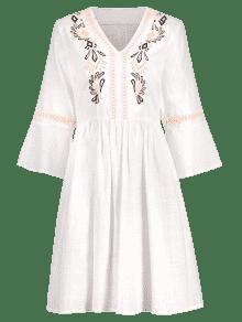 Bordado Mini Blanco Acampanadas Mangas Vestido M SxHYwH5rq