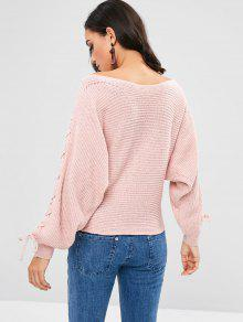 Lace Rosa Dolman Cerdo Up Sweater Sleeves qXTq5c4wS