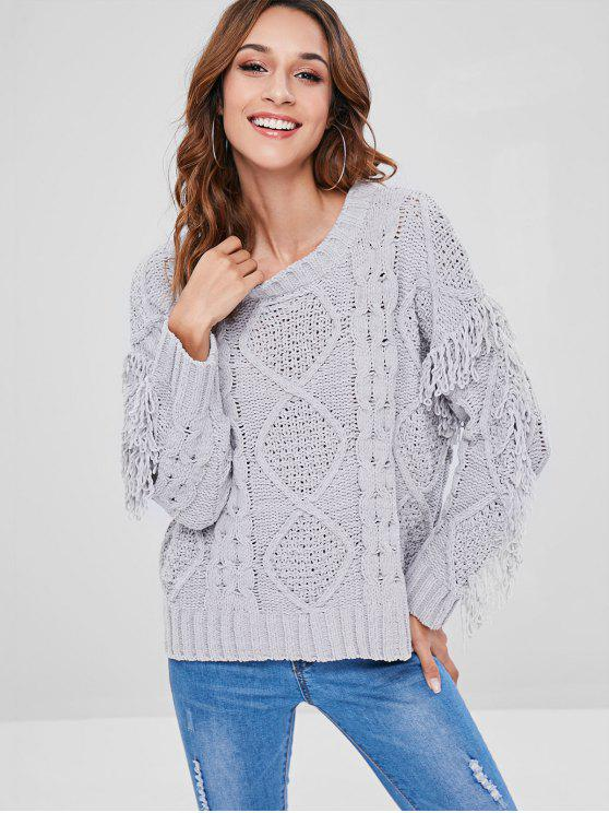 outfit Tassels Cable Knit Sweater - LIGHT GRAY ONE SIZE