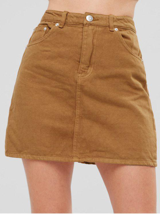 2e990a414 30% OFF] 2019 Denim Pelmet Mini Skirt In BROWN   ZAFUL