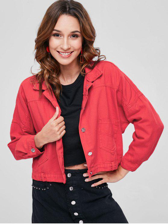 best Back Button Crop Jacket - FIRE ENGINE RED S