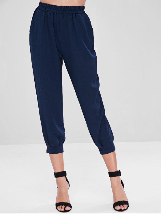 Hoch taillierte Pocket Capri Hose - Tiefes Blau Eine Größe
