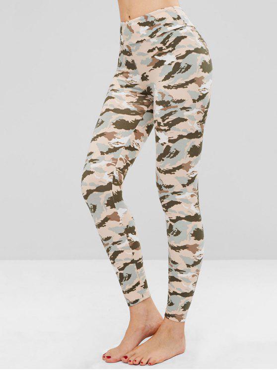 Legging Doux Collant Camouflage Imprimé - ACU Camouflage Taille Unique