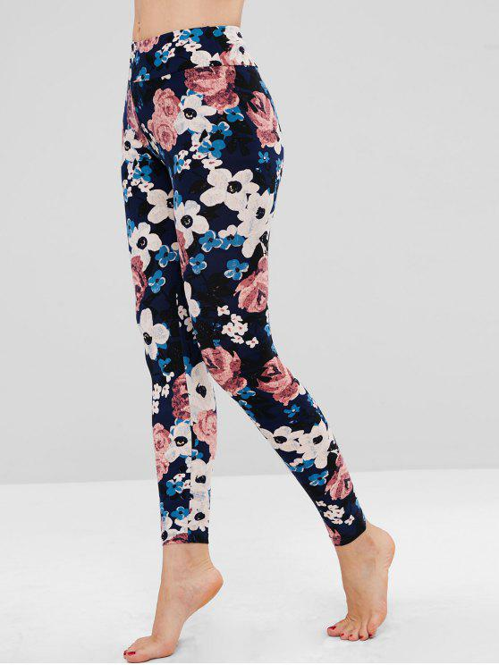 online Floral Soft Jersey Tights Leggings - MULTI ONE SIZE