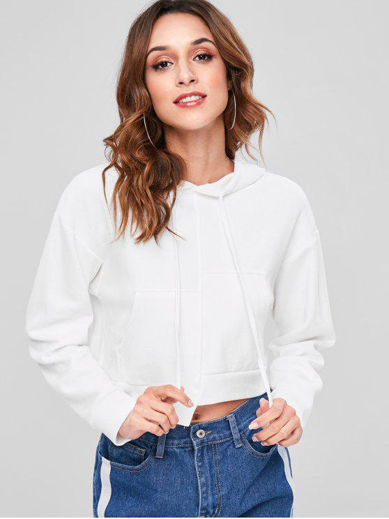 women Drop Shoulder Asymmetrical Hoodie - WHITE ONE SIZE