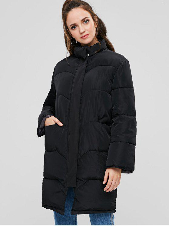 lady Stand Collar Puffer Quilted Winter Coat - BLACK M