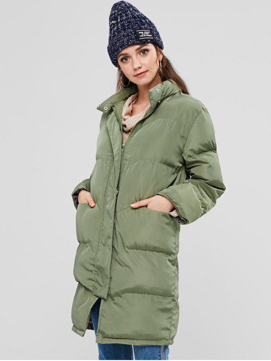 Stehkragen-Puffer-gesteppter Winter-Mantel - Armeegrün L