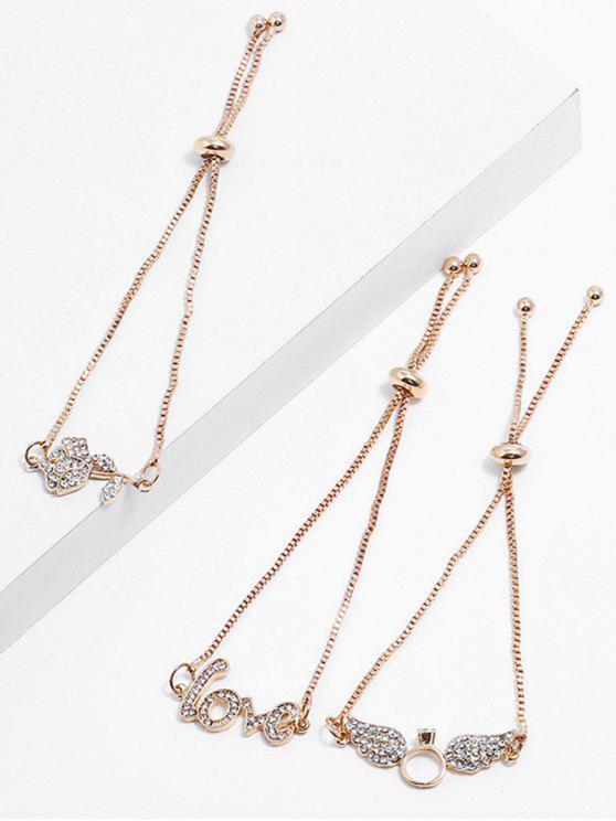 Conjunto de pulseiras de strass amor forma de flor - Ouro