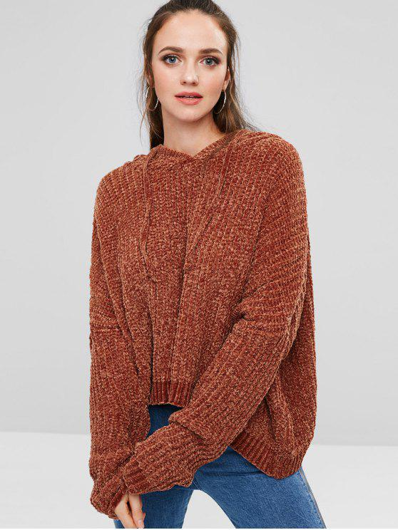 lady Oversized Hooded Sweater - BROWN ONE SIZE
