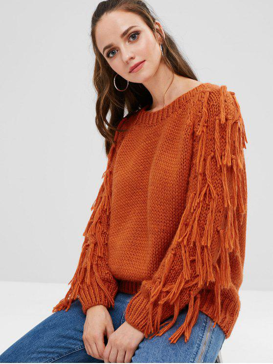 fancy Tassels Chunky Knit Sweater - PAPAYA ORANGE ONE SIZE