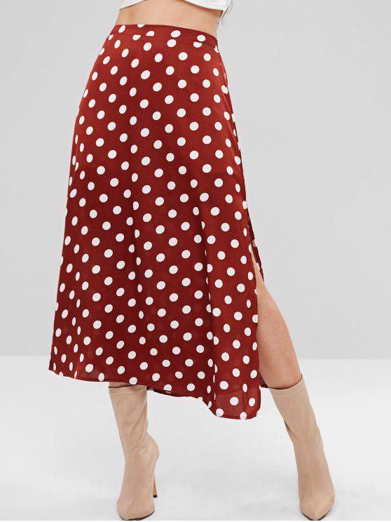 90369b4312d 23% OFF  2019 Polka Dot Split Midi Skirt In RED WINE