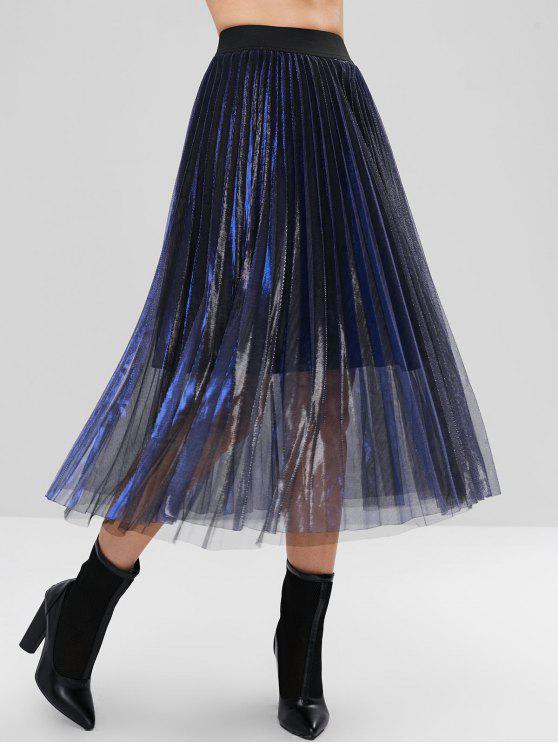 Falda midi de tul plisada y reflectante en capas - Azul Profundo L