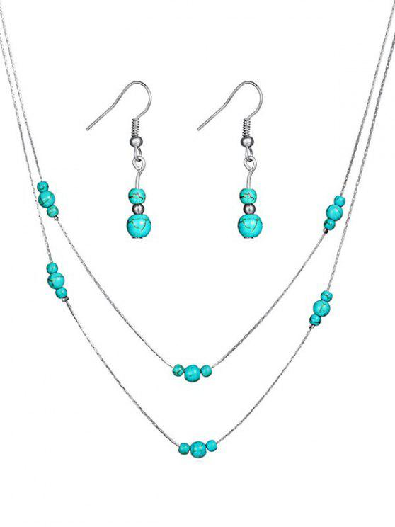 unique Stylish Faux Turquoise Beaded Necklace Earrings Set - SILVER