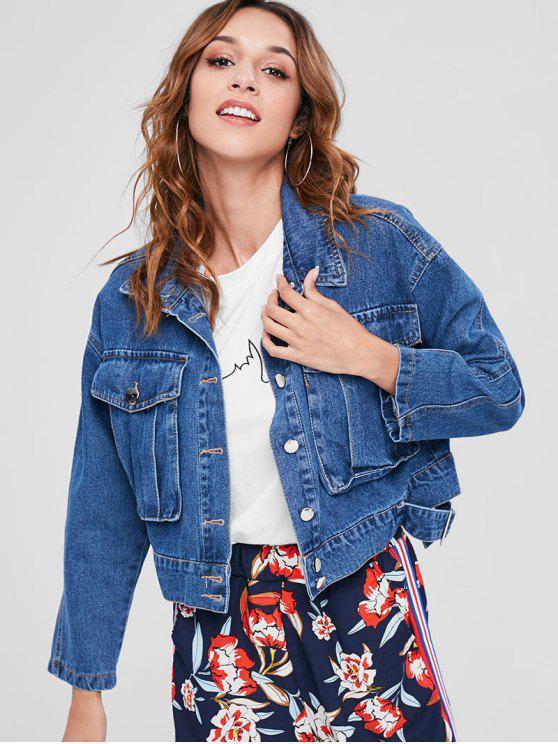shop Button Up Cropped Denim Jacket - DENIM DARK BLUE M
