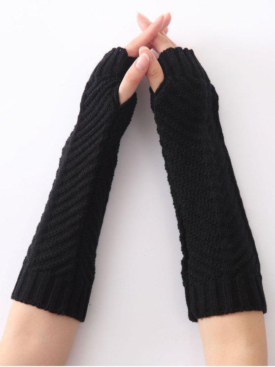 hot Fishbone Pattern Crochet Knitted Gloves - BLACK