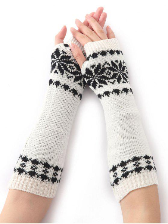 2018 Snowflake Pattern Knitted Arm Warmers In White Zaful