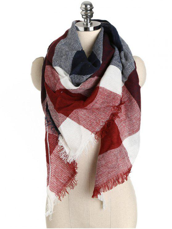 buy Checked Pattern Fringed Long Scarf - RED WINE ONE SZIE