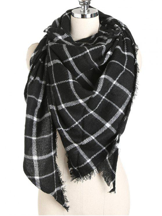 women's Elegant Tartan Fringed Long Scarf - BLACK ONE SZIE