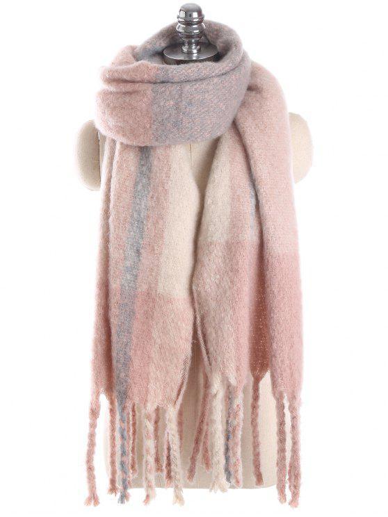 Sciarpa Lunga A Quadretti Con Frange - Rosa taglia unica
