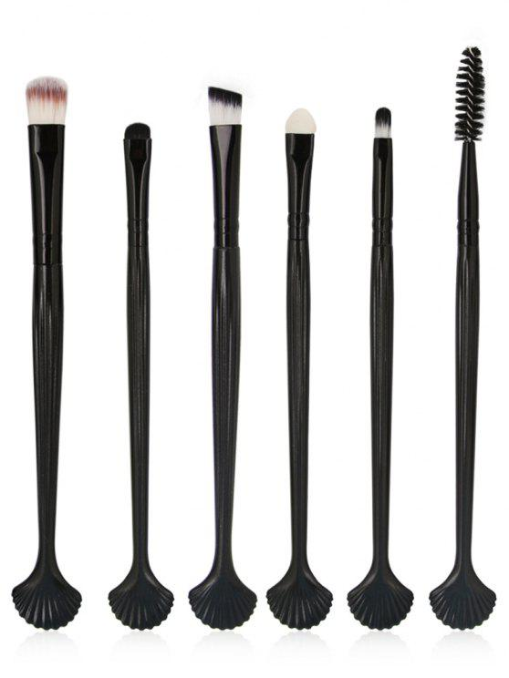 buy 6Pcs Shell Shaped Eyeshadow Eyebrow Blending Cosmetic Brush Suit - BLACK