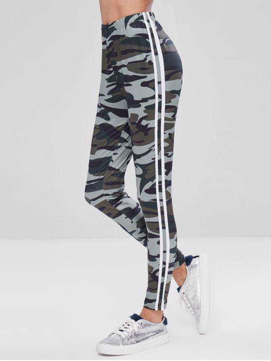 Pantaloni Aderenti Di Camo A Righe Laterali - Multi Colori M