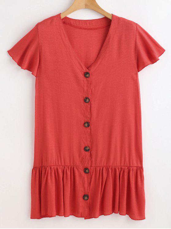 fancy Button Front V Neck Dress - VALENTINE RED XL