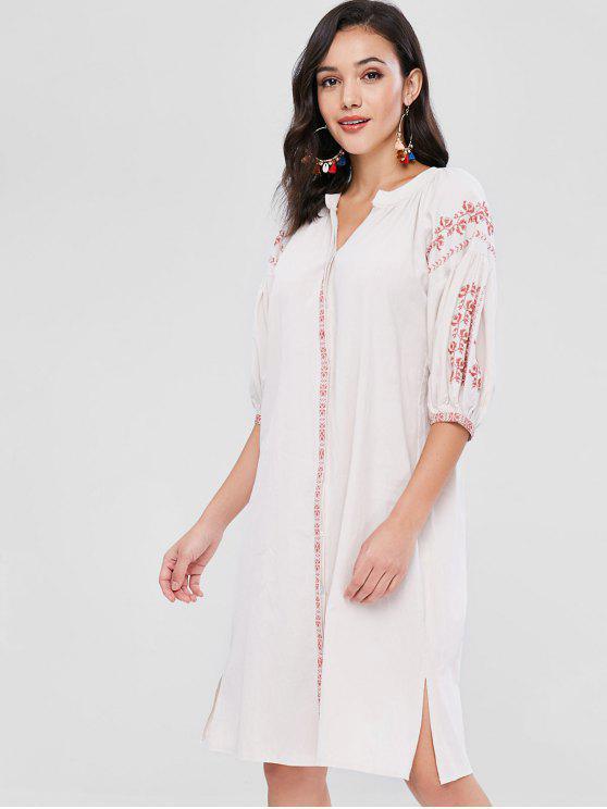 Besticktes, geschlitztes Kleid mit Schlitz - Blanchierte Mandel Eine Größe