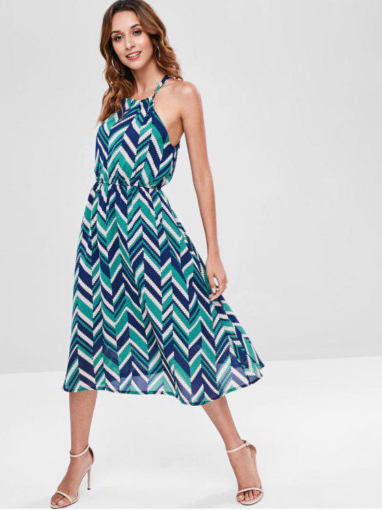 Vestido a media pierna en zigzag - Multicolor M