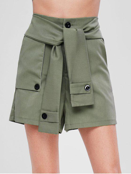 Self Tie Taille Pocket Shorts - Armeegrün S