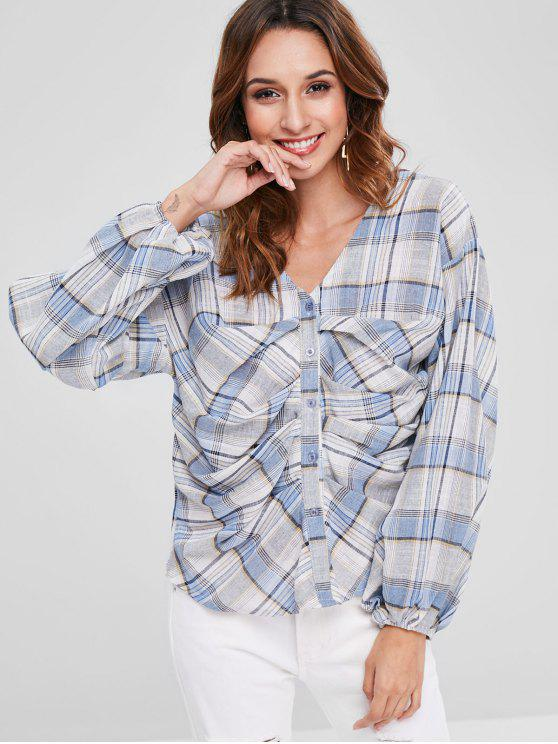 best V Neck Ruched Plaid Blouse - DENIM BLUE ONE SIZE